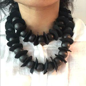 Long beaded ball and fabric boho necklace